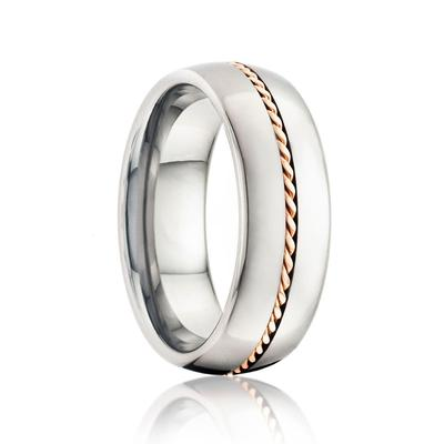 BEACON | Men's Wedding Band | Tungsten with Gold Rope Inlay | 6mm & 8mm