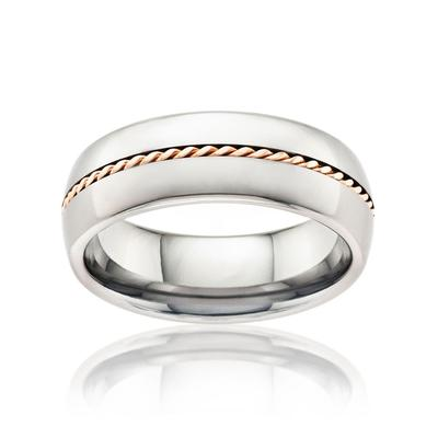Tungsten Wedding Ring for Men with Gold Inlay