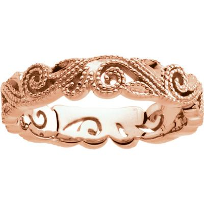 Women's Rose Gold Wedding Band with Scroll