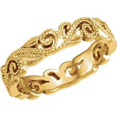 Women's Yellow Gold Wedding Band with Scroll