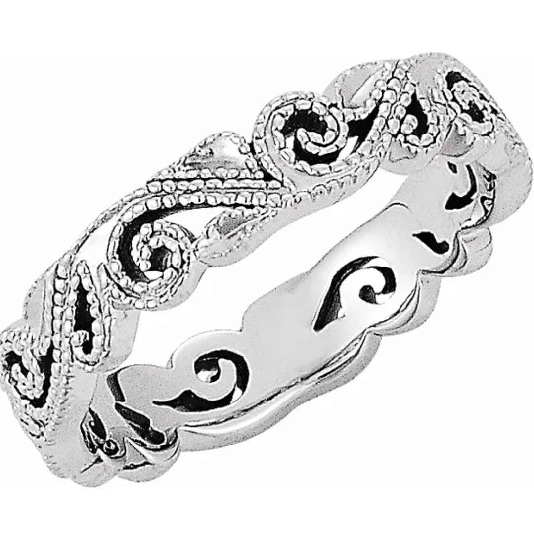 Women's White Gold Wedding Band with Scroll