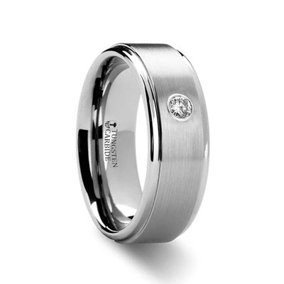 Tungsten Wedding Band with Solitary Diamond