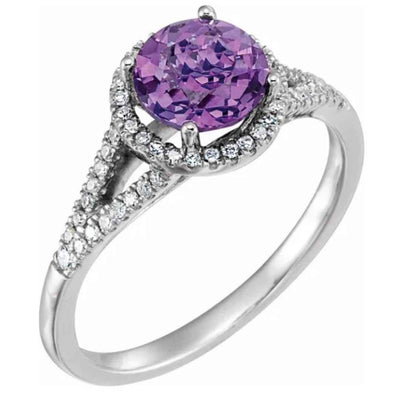 Halo style amethyst engagement ring. 14k white gold ring for women. Diamond encrusted halo ring with amethyst center stone.