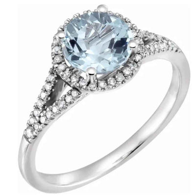 BLAKELY | 14k WHITE GOLD ENGAGEMENT RING | HALO DIAMOND SETTING