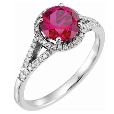 Women's 14K white gold ruby halo engagement ring