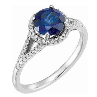 Women's 14K white gold sapphire halo engagement ring