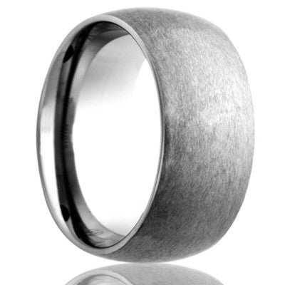 BLAKE | Domed Cobalt Band with Satin Fnished Top | 6mm, 7mm, & 8mm - TCRings.com