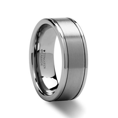 Tungsten Wedding Band Brushed Center