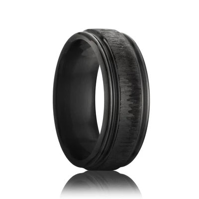Black Zirconium Men's Wedding Ring Tree Bark