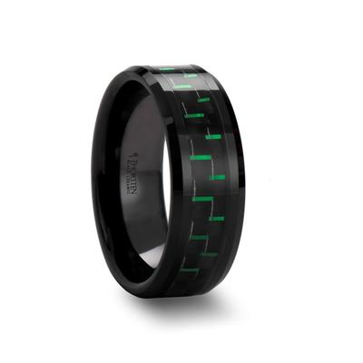 Black Ceramic Wedding Band with Carbon Fiber Inlay