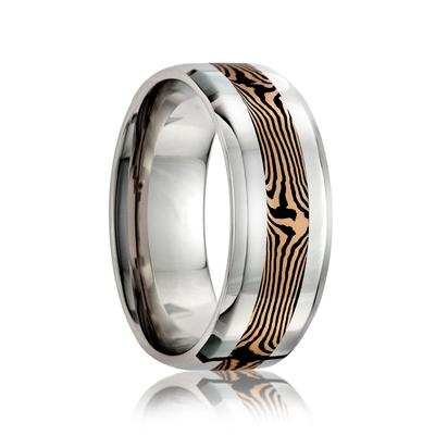 Cobalt Wedding Band with Gold Inlay