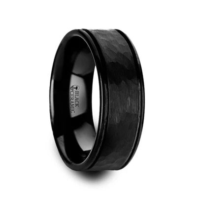Black Ceramic Wedding Ring Hammered Finish