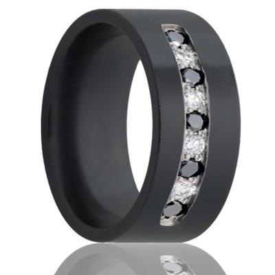 Black Zirconium Men's Wedding Band with Diamonds