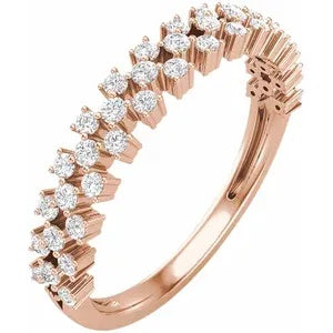 Anniversary Ring Wedding Band Rose Gold with Diamonds