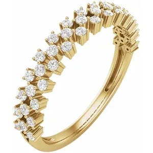 Anniversary Ring Wedding Band Yellow Gold with Diamonds