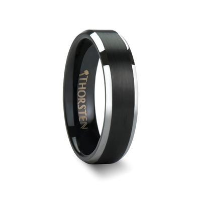 Black Tungsten Wedding Band with Polished Edges