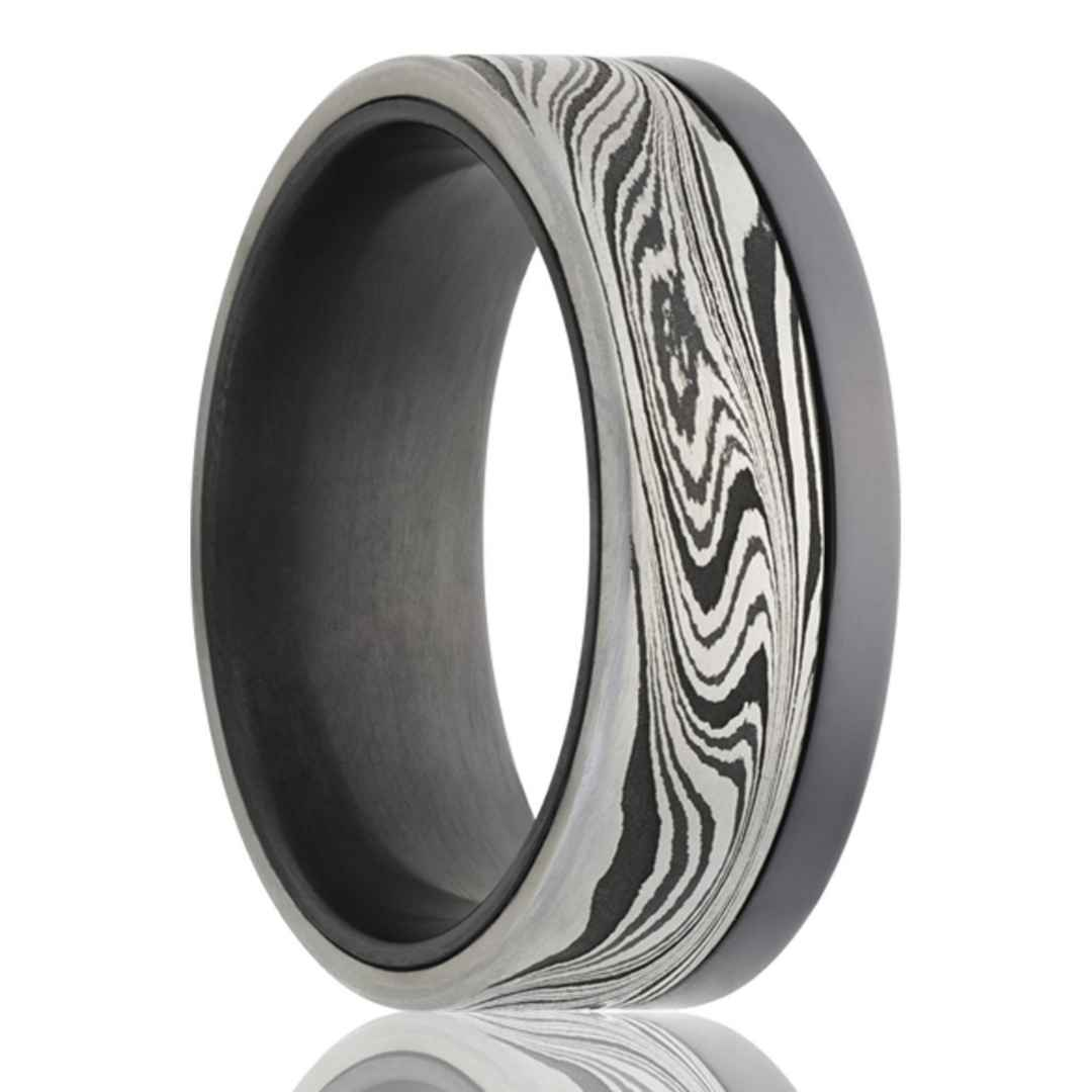 Men's zirconium with Damascus steel overlay wedding ring