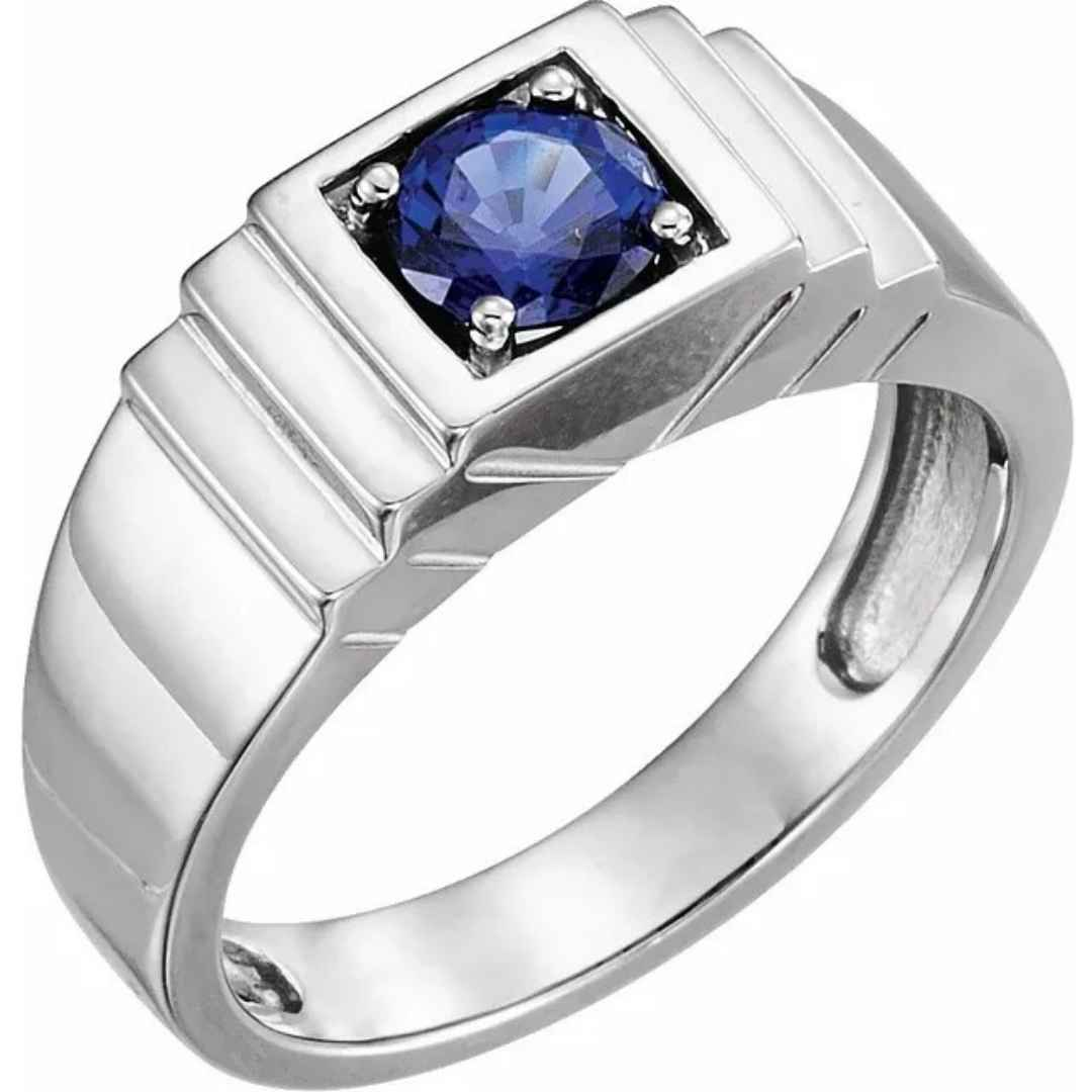 Men's Platinum wedding ring blue sapphire