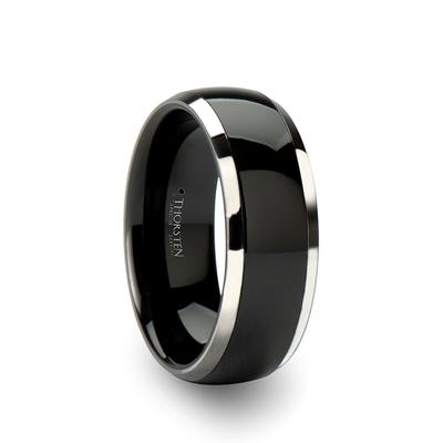 Black Ceramic Wedding Ring Tungsten Edges