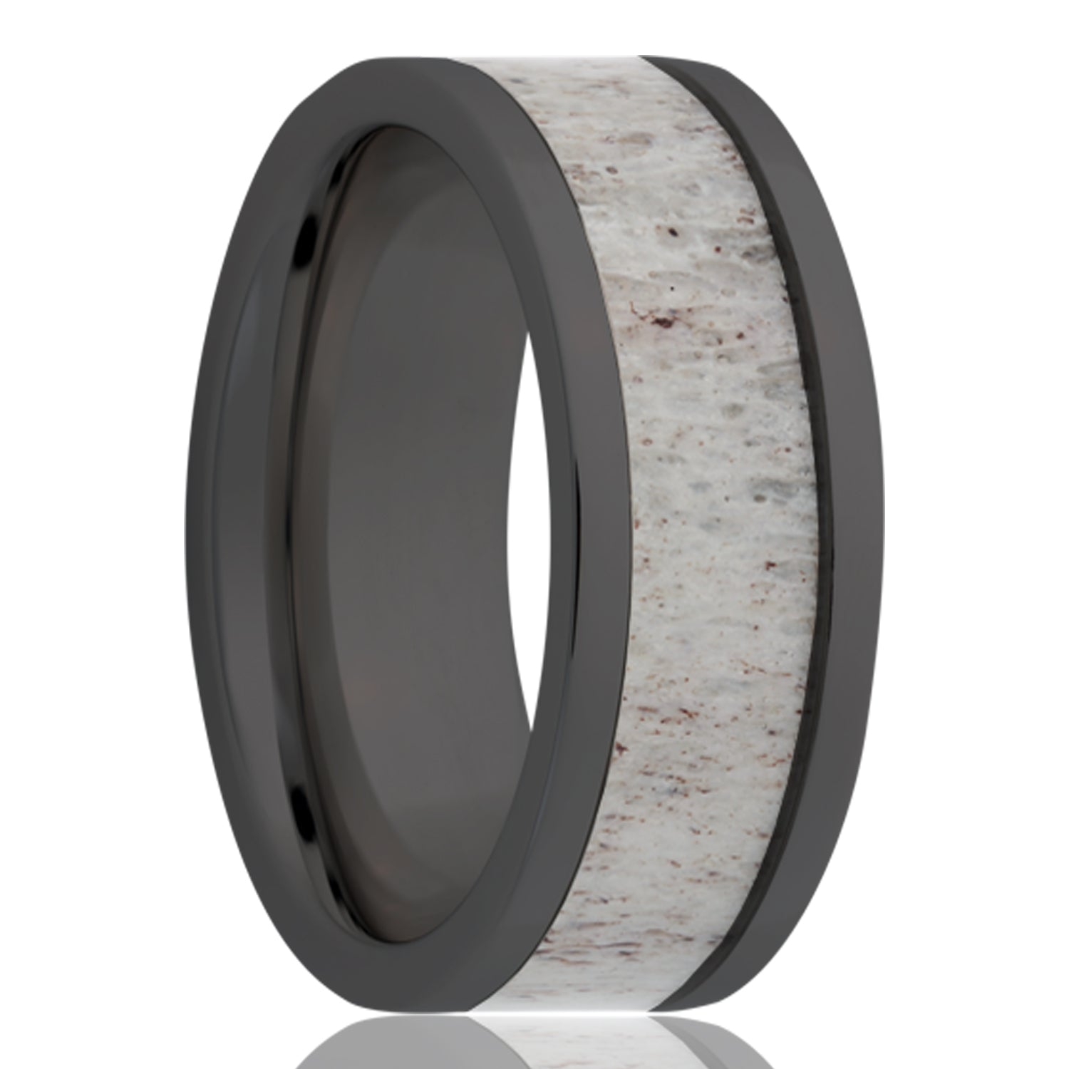 Mens Black ceramic wedding band with deer antler inlay.