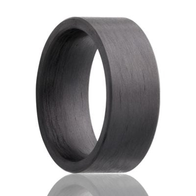 CADE | Solid Carbon Fiber Wedding Ring Flat Cut | 8mm - TCRings.com