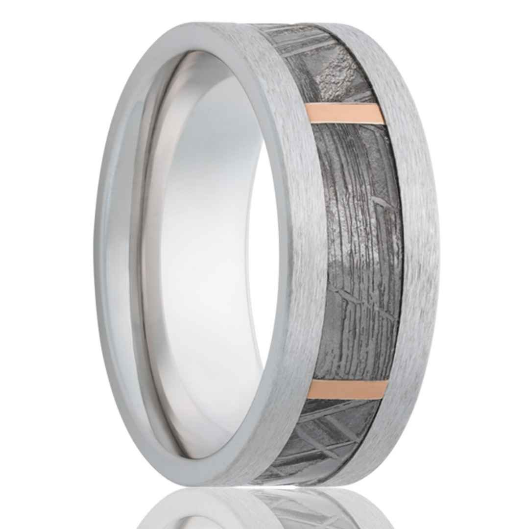Men's cobalt meteorite wedding ring