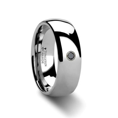 Tungsten Wedding Band with Black Diamond