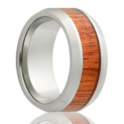 Tungsten Wedding Band Beveled Edges Bloodwood Inlay