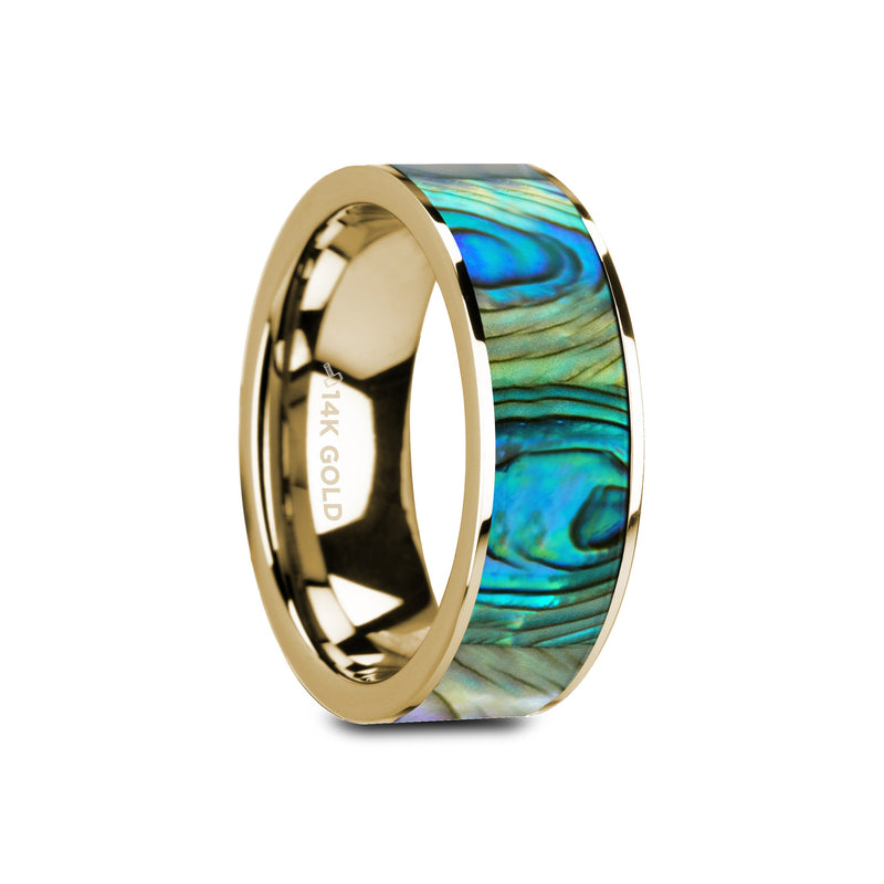 CARMEL | Mother of Pearl Inlay | 14k Yellow Gold Wedding Ring | 8mm - TCRings.com