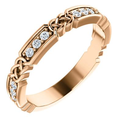 Women's Rose Gold Wedding Band with Diamonds