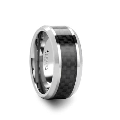 Men's Tungsten Wedding Ring with Carbon Fiber Inlay Beveled Edges
