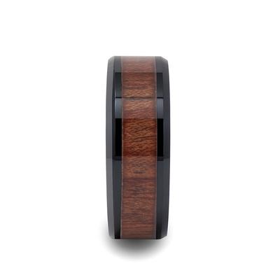 Black Wedding Band with Rosewood Inlay
