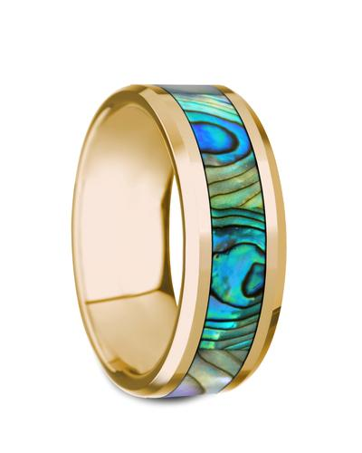 Gold Wedding Band with Mother of Pearl Inlay