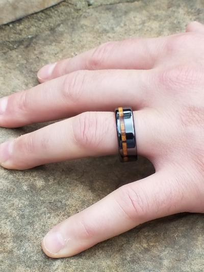 Black Ceramic Wedding Ring Zebra Wood Inlay