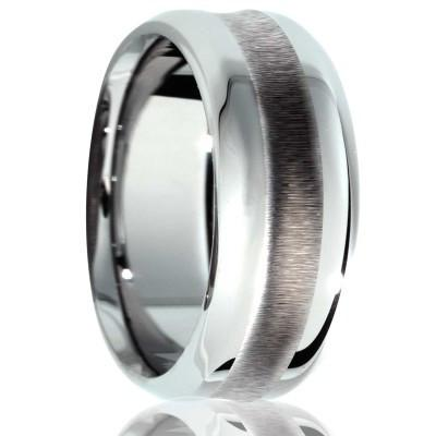 Tungsten Wedding Ring Textured Center