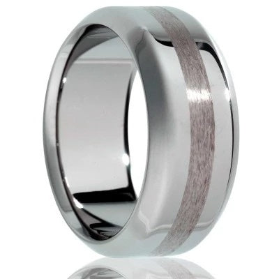 Tungsten Wedding Band with Satin Finished Stripe