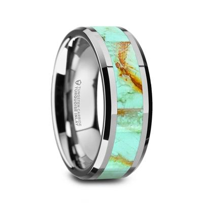 Men's Wedding Band Tungsten Turquoise Inlay