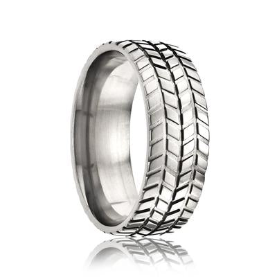 CHAMPION | Men's Titanium Ring | Tire Tread | 8mm