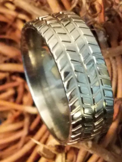 Titanium Tire Tread Ring for Men Lifestyle