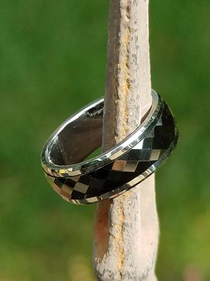 Black Ceramic Spinner Ring Faceted Surface