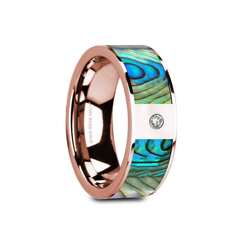 CHELAN | Flat Polished 14K Rose Gold Mother of Pearl Inlay & White Diamond Setting | 8mm - TCRings.com