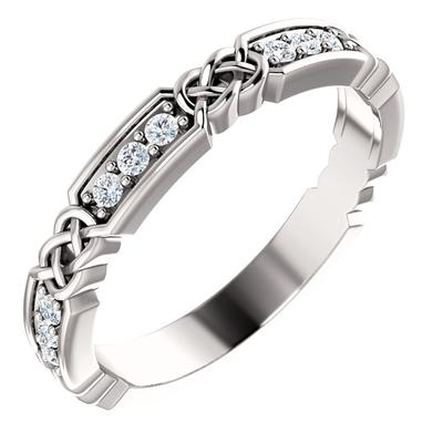 White Gold Wedding Ring | 14k Gold with Diamonds