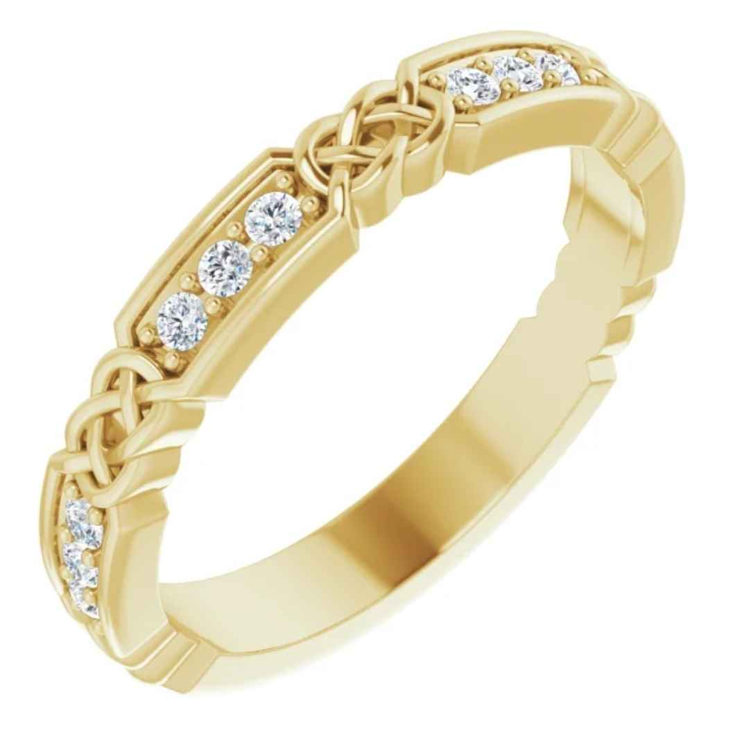 Yellow Gold Wedding Ring | 14k Gold with Diamonds