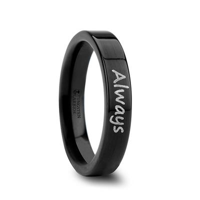Black Tungsten Wedding Band with Engraving