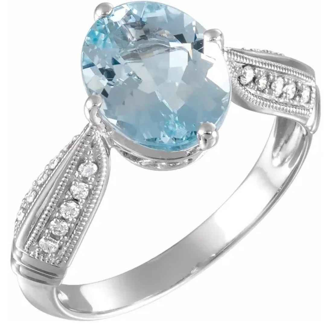 Women's aquamarine & diamond engagement ring