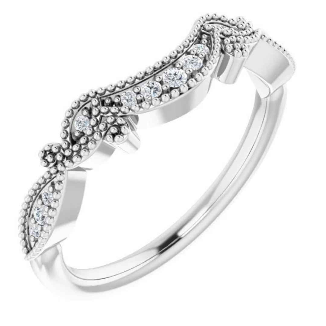 Women's 14K white gold vintage inspired wedding band