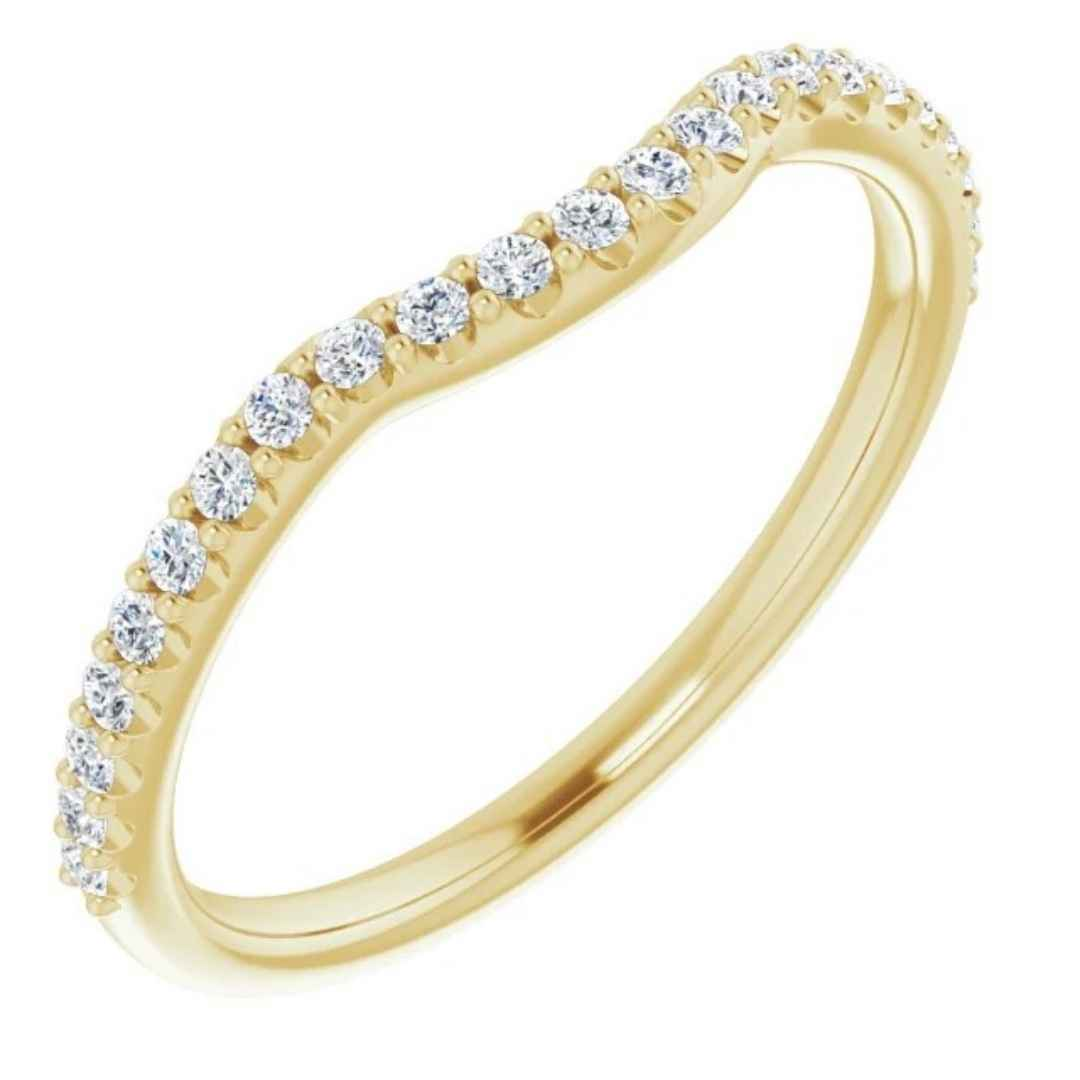 Women's 14K yellow gold contoured diamond wedding ring