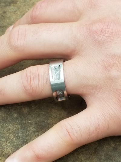Man Wearing Meteorite Ring