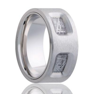 Cobalt Ring with Meteorite Inlay
