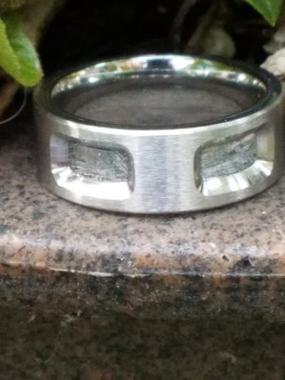 Cobalt Wedding Band with Meteorite Inlay